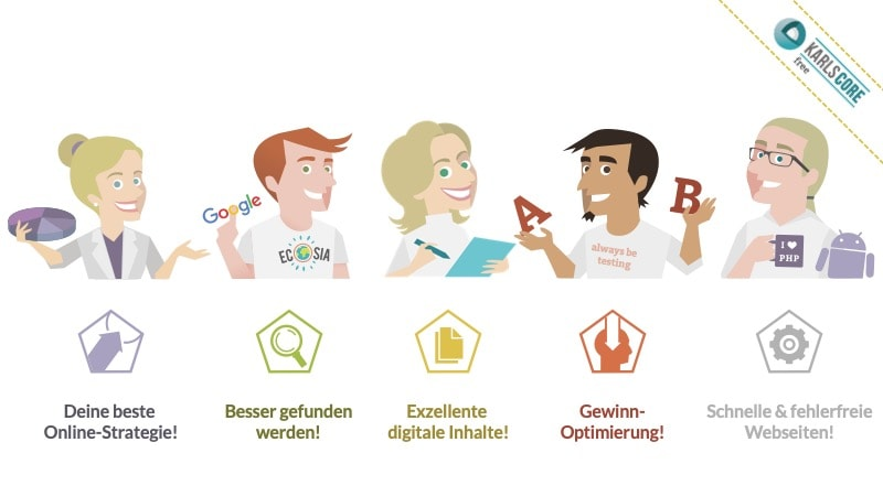 karlsCORE free: Eine Plattform mit Online-Marketing-Werkzeugen und aktuellem Online-Marketing-Wissen rund die Online-Marketing-Strategie, digitale Findbarkeit (SEO, SEA, Social Media), exzellente digitale Inhalte, Konversions-Optimierung und Web-Technologie.