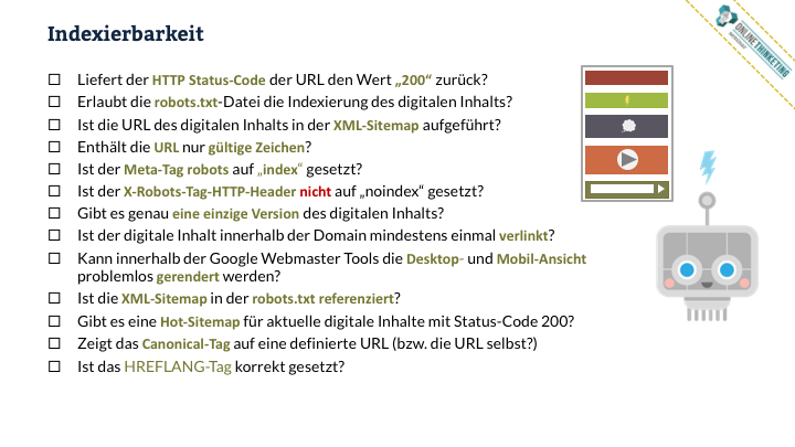 Online Marketing Seminar » Onlinethinketing » Web-Technik » Indexierbarkeit